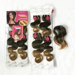 Urocza kolor Ombre ciało fala syntetyczny pakiet włosów splot two tone Quattro indian curl 4 sztuk z bezpłatnym fringe doczepiane włosy