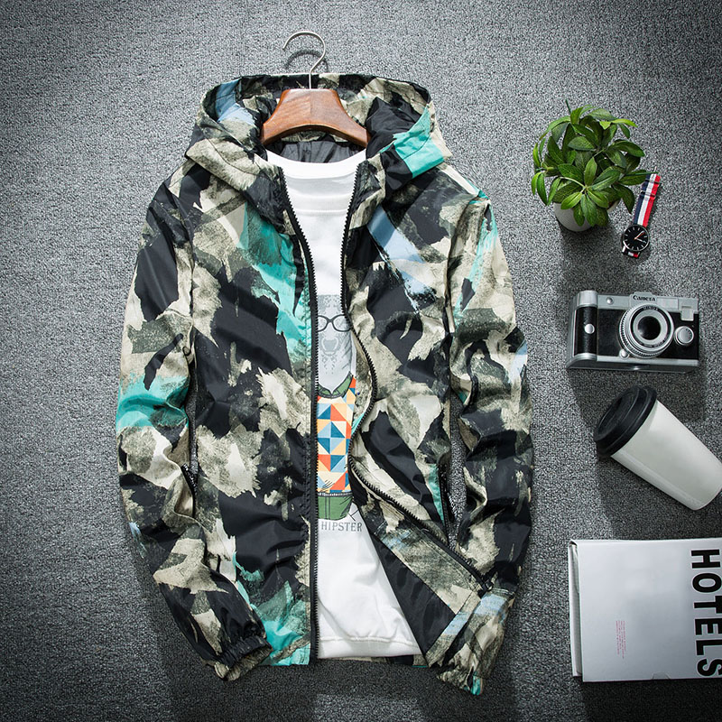 Men Bomber Jacket Thin Slim Long Sleeve Camouflage Military Jackets Hooded 2019 Windbreaker Zipper Outwear Army Brand Clothing