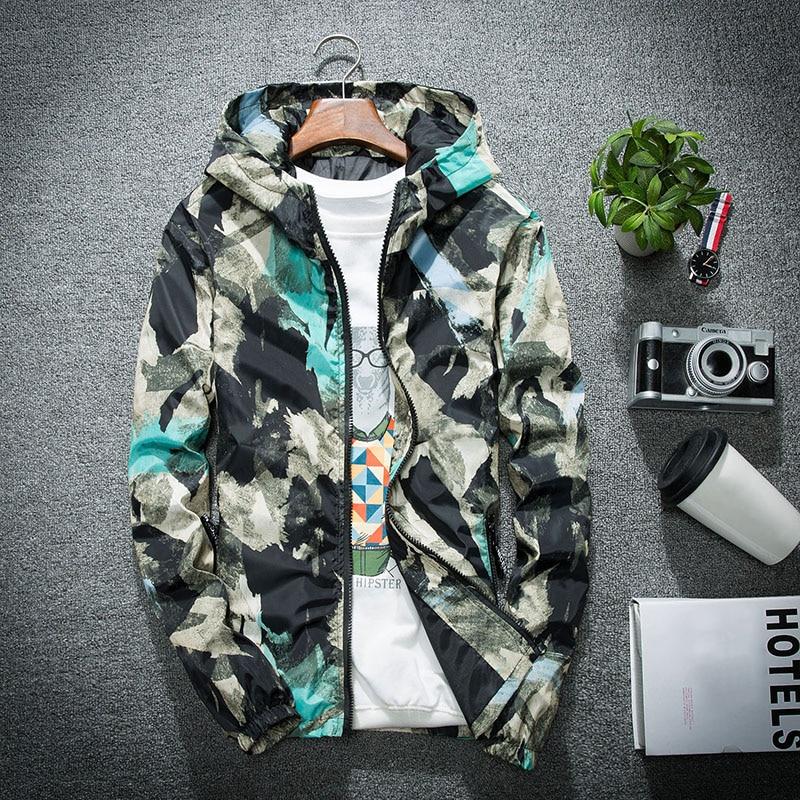 Men Bomber Jacket Thin Slim Long Sleeve Camouflage Military Jackets Hooded 2019 Windbreaker Zipper Outwear Army Brand Clothing