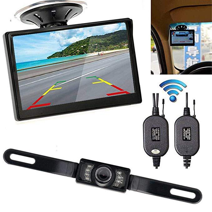 5-Inch High-definition Sucker Display Long License Plate Frame Rearview Camera Wireless Rear View Hole-Line Wireless Reversing
