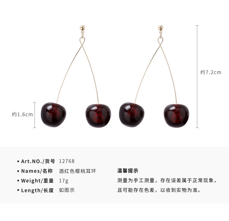 H85312e8e8b434220aafcbdc2840d8ae66 - AOMU S925 Sterling Silver Pin Autumn Winter New Wine Red Cherry Cute Fruit Long Drop Earrings For Women Vintage Pendientes Gifts