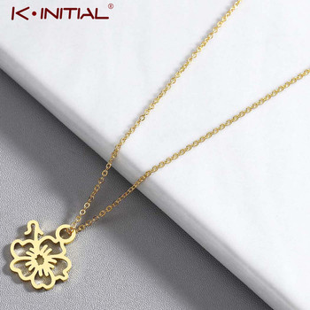 Kinitial Hibiscus Necklace Charming Hawaiian Flower Necklaces Stainless Steel Choker Jewelry Lover Gifts Minimalist Jewelry image