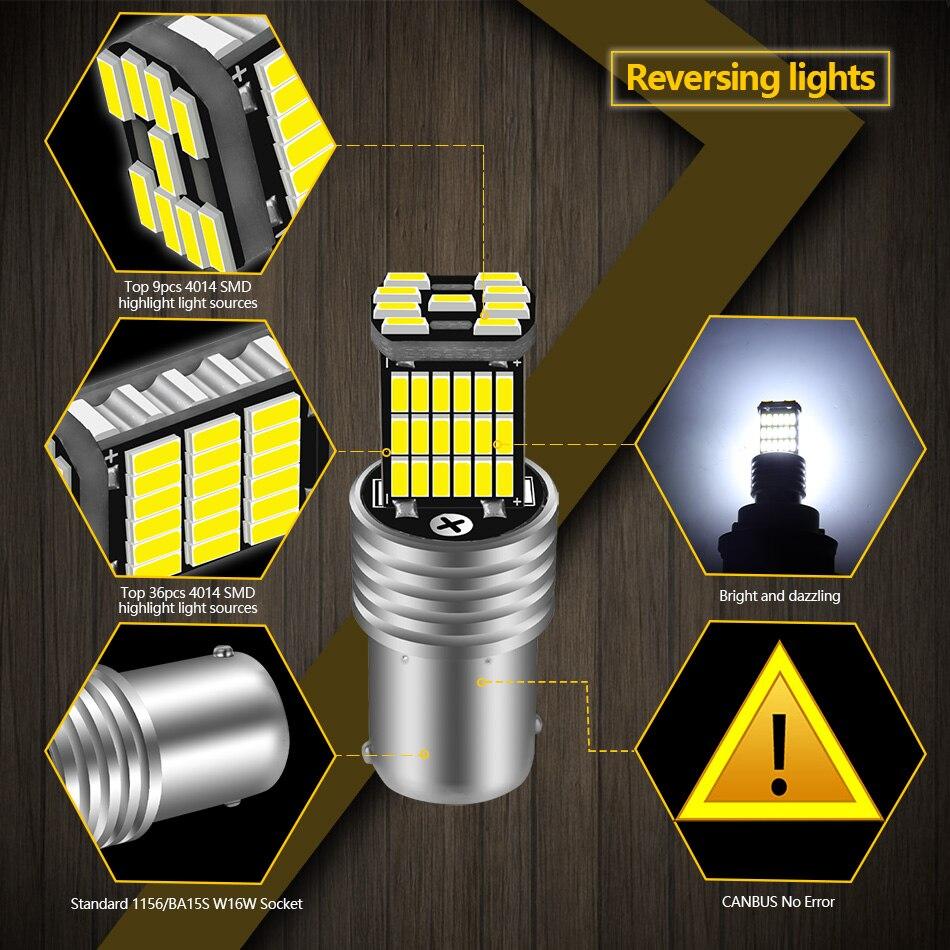 AILEO 2PCS 1156 BA15S P21W S25 7506 LED Bulbs High Power 45pcs 4014SMD Super Bright 1200LM Replace For Car Reversing Light White 5
