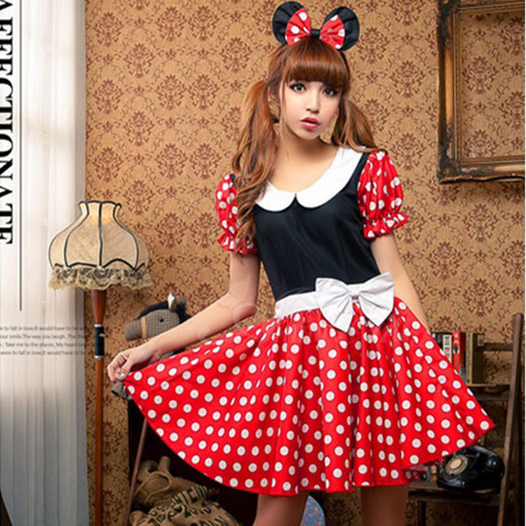 Minnie Mouse Dresses Cosplay Costume Halloween Party Lolita Skirt Cosplay Women Girl School Uniforms Fashion Cartoon Dress