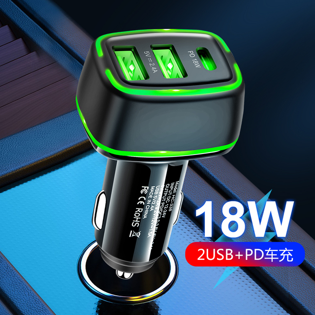 18w Dual USB Car Charger Quick Charge 3A TypeC Fast Charger for iPhone12 Xiaomi Huawei Samsung Moible Phone Universal PD Charger 1