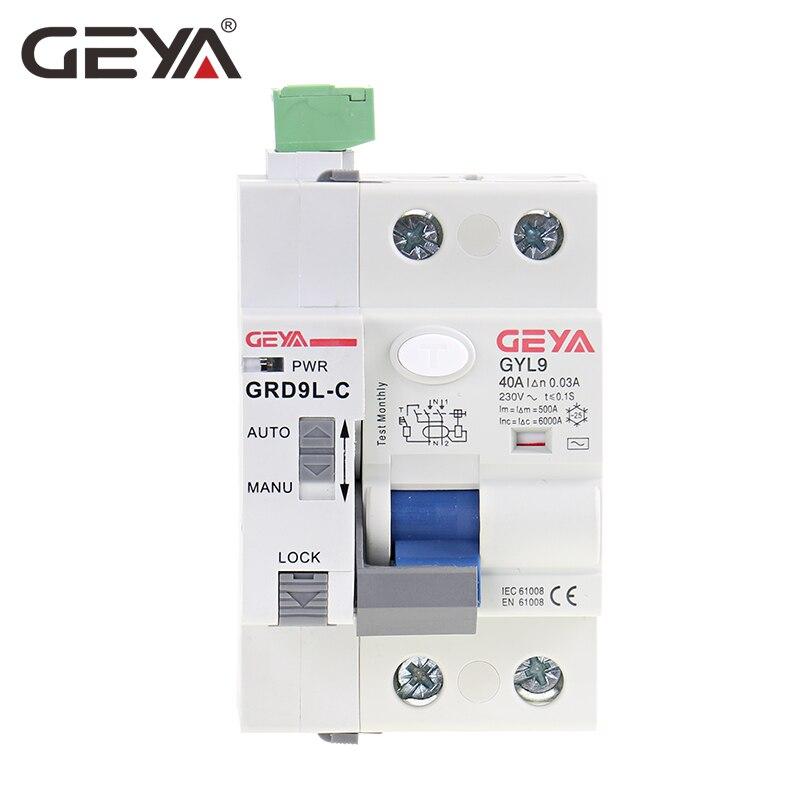 GEYA GRD9L 6KA ELCB RCCB Disjuntor do Circuito de Controle Remoto da Função Religamento Automático Dispositivo com RS485 2P 40A 63A 30mA RCD
