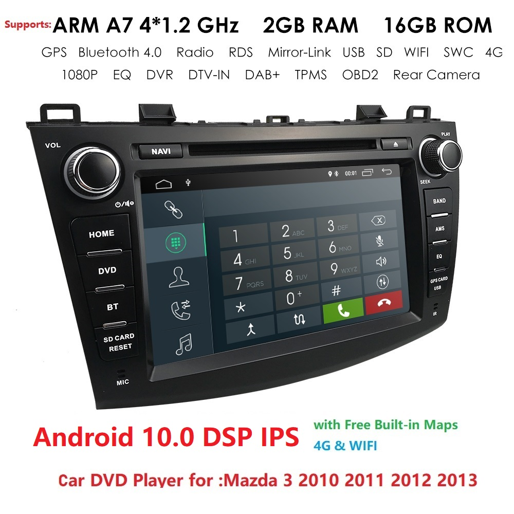 DSP IPS 8 Inch 2 DIN Car <font><b>GPS</b></font> <font><b>Navigation</b></font> 2G+16G Car DVD Stereo Player Android 10.0 for Mazda3 2010-2013 WIFI 4G SWC BT DAB+ TPMS image