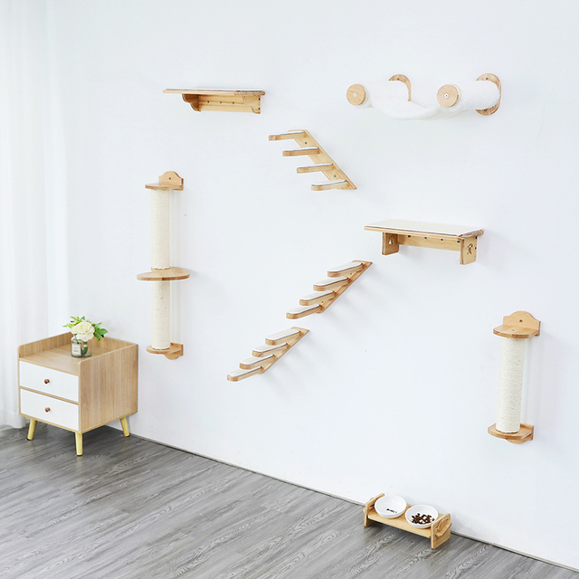 HOOPET Cat Stairs Wall Mounted For Climbing Solid Wood Cat Tree For Scratching Easy to Install Shelves For Cat Pet Furniture 6