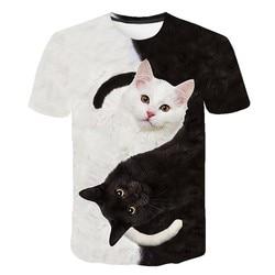 2021 latest 3D animal funny 3D little cat T-shirt couple crew neck