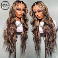 VINIDA STYLE Highlight Wave 150% Density Lace Front Human Hair Wigs With Baby Hair Scalp Top Closure Wigs Non-Remy