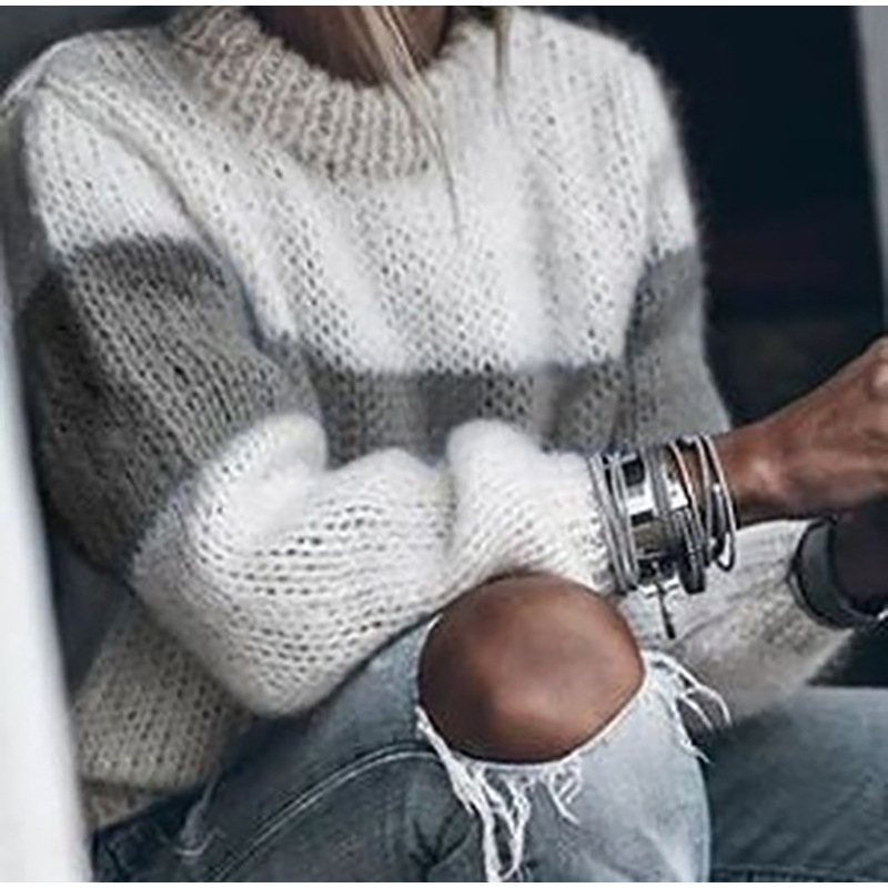 Autumn Winter Women's Loose Knitted Sweater Long Sleeve O-Neck PatchWork Pullover Sweaters For Female 19 Fashion Warm Clothes 7
