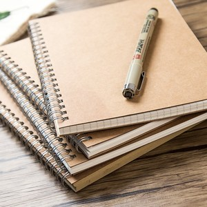 Blank Cowhide Coil This Grid Horizontal Line Sketch Sketch Diary Book Dot Matrix Kraft Paper Diary Book Notebook Notepad Record