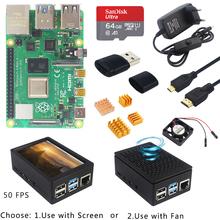 Raspberry Pi 4 Model B Kit 2/4/8Gb Ram + 64Gb Sd-kaart + Abs case + Koellichaam + Power Adapter Optie 3.5 Inch Lcd | Hdmi Kabel | Fan