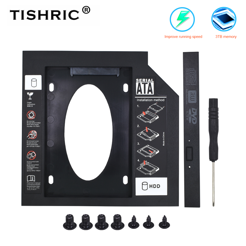 TISHRIC plastik SATA Hdd Caddy 9.5mm 12.7mm sabit Disk muhafaza harici sabit Disk Laptop için CD-ROM DVD-ROM optik Bay