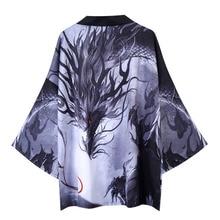 #3740 Dragon Kimono Jacket Men Japan Style Casual Loose Thin Sunscreen Coat For Men Vintage Streetwear Kimono Capes Summer 2020