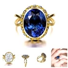 Simple azul Oval anillo de piedras para las mujeres de anillos de dedo romántico regalo de cumpleaños para novia joyería de moda Zircon
