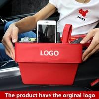 1PCS Leather Auto Seat Gap Organizer Storage Box Car Console Side Pocket Seat Crevice Storage Box Seat Gap Pocket FOR BMW M LOGO|Stowing Tidying|   -