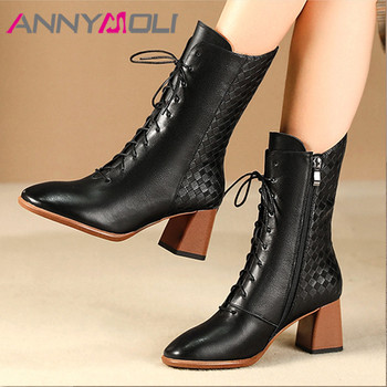 ANNYMOLI Winter Ankle Boots Women Natural Genuine Leather Thick High Heel Short Boots Zipper Round Toe Shoes Lady Autumn Size 42