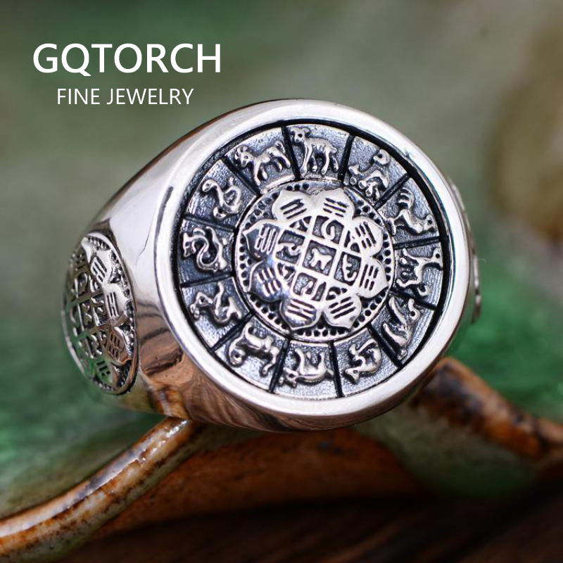 Vintage 925 Sterling Silver Jewelry Exaggerated Large Mens Rings Rotatable Jiugong Bagua Twelve Chinese Zodiac Signs