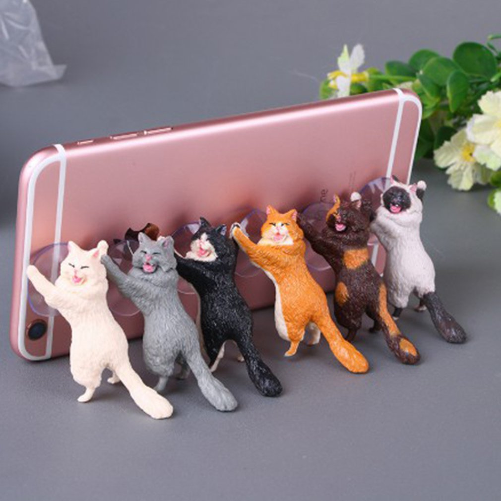 Cat Tablet Phone Holder Table Stand Sucker Resin Smartphone Holder Party Gifts For Guests Home Decor 1Pcs