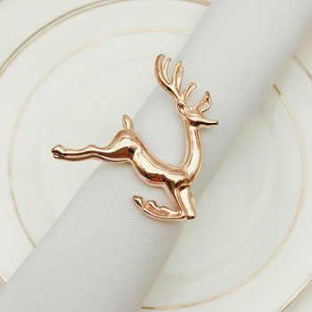 SHSEJA 12pcs/lot Christmas deer napkin rings Silver Gold Alloy napkin buckle napkin buckle hotel wedding party table decoration