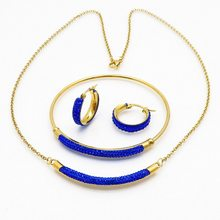 Fashion design women gift party jewelry gold stainless blue crystal bracelet earring and necklace set(China)