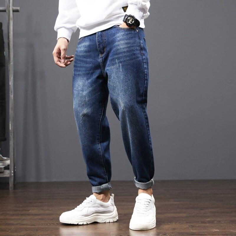 Korean Style Fashion Men Jeans Dark Blue Loose Fit Denim Harem Pants Hombre Vintage Designer Wide Leg Trousers Hip Hop Jeans Men