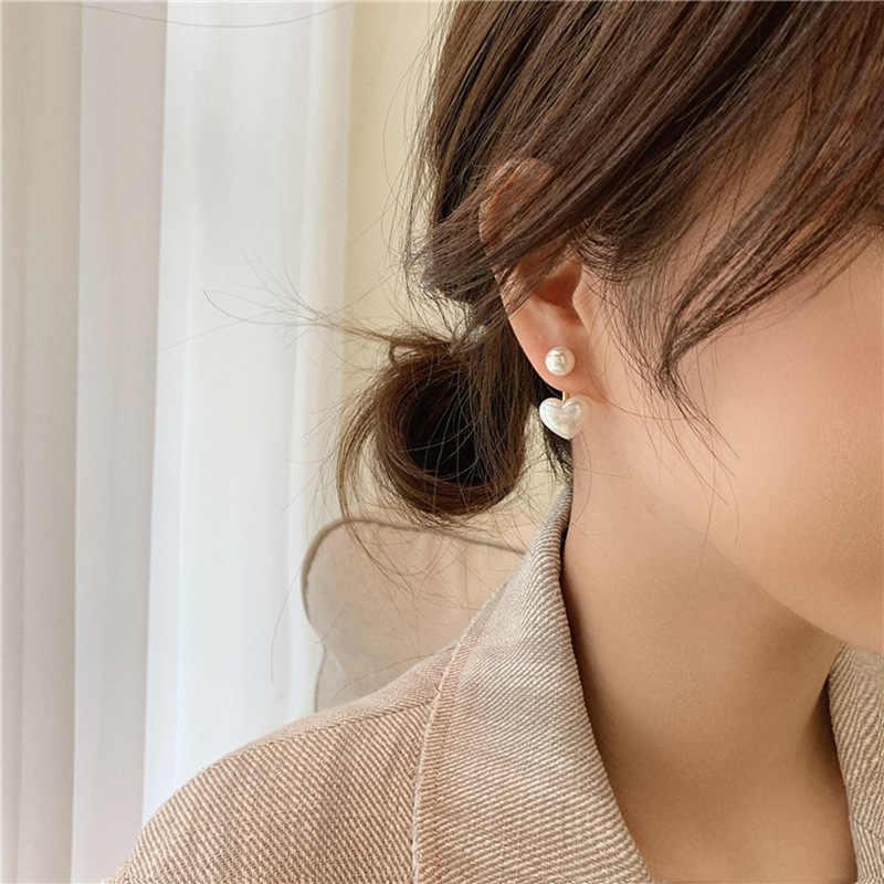 2020 חדש אופנה נדבק לב פרל בסדר עגילי ג 'וקר מתוק אלגנטי טמפרמנט נשים Drop עגילים