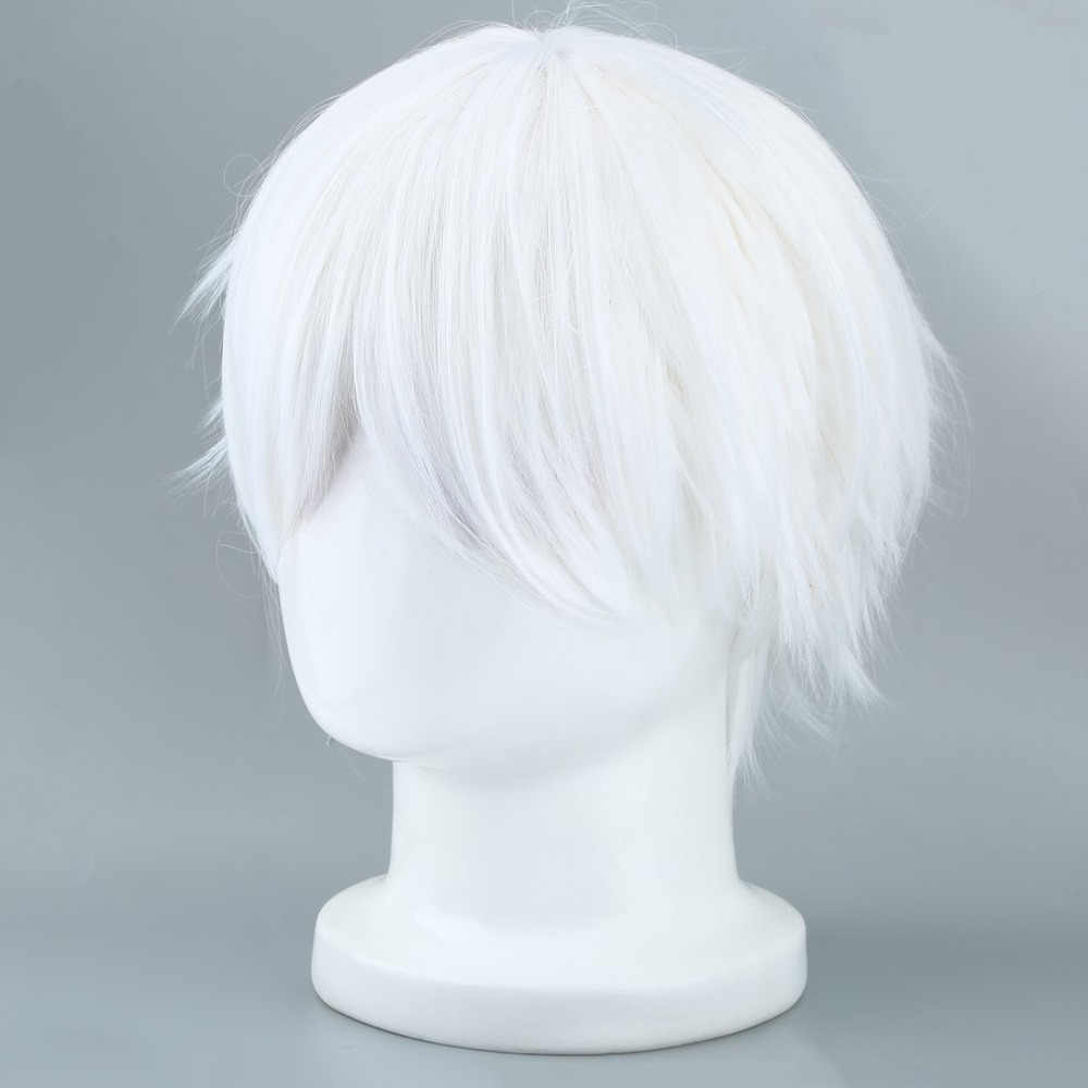 Tokyo Ghoul Cosplay Hairs Short Straight Silver Gray Color Silk Synthetic Hair Halloween Masquerade Party Costumes   Fashion