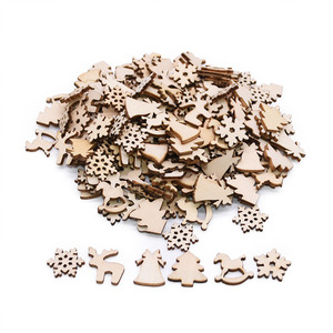 Image 4 - 100 sztuk drewna konfetti ozdoby choinkowe Mini płatek śniegu drzewa wiszące wisiorki dekoracje na boże narodzenie dla domu nowy rok prezent