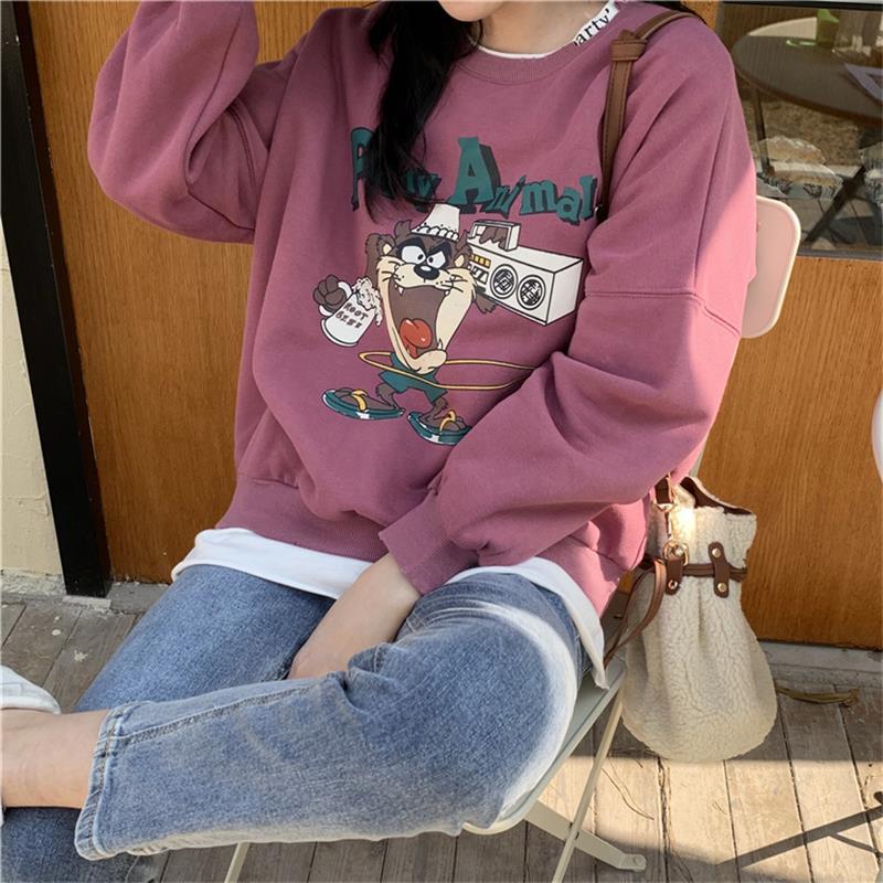 Women's Sweatshirts Japanese Harajuku Ulzzang Loose Lazy Cartoon Casual Print Sweatshirt Female Korean Kawaii Clothing For Women