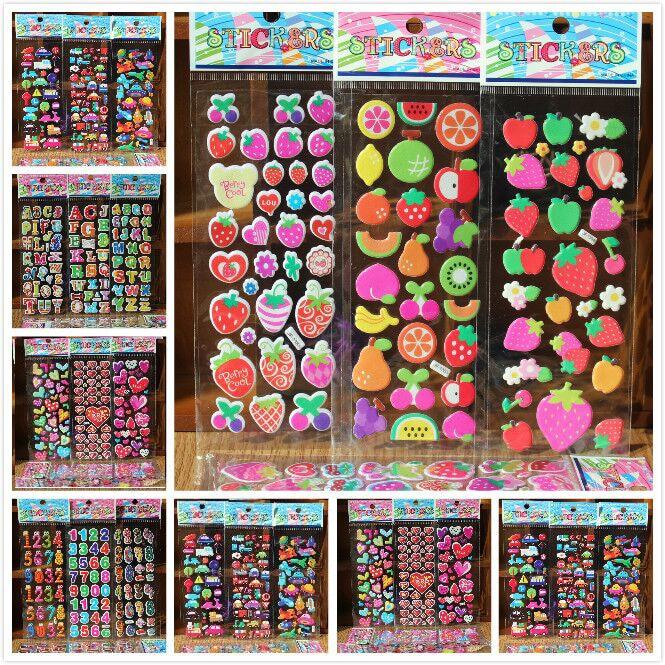 10 blätter/lot 3D Puffy Blase Aufkleber Mixed Cartoon Autos Waterpoof DIY Kinder Kinder Junge Mädchen Spielzeug für kinder