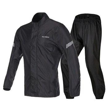 Black Waterproof Rain Suit Jacket Trousers For Motorcycle Motorbike Cycling