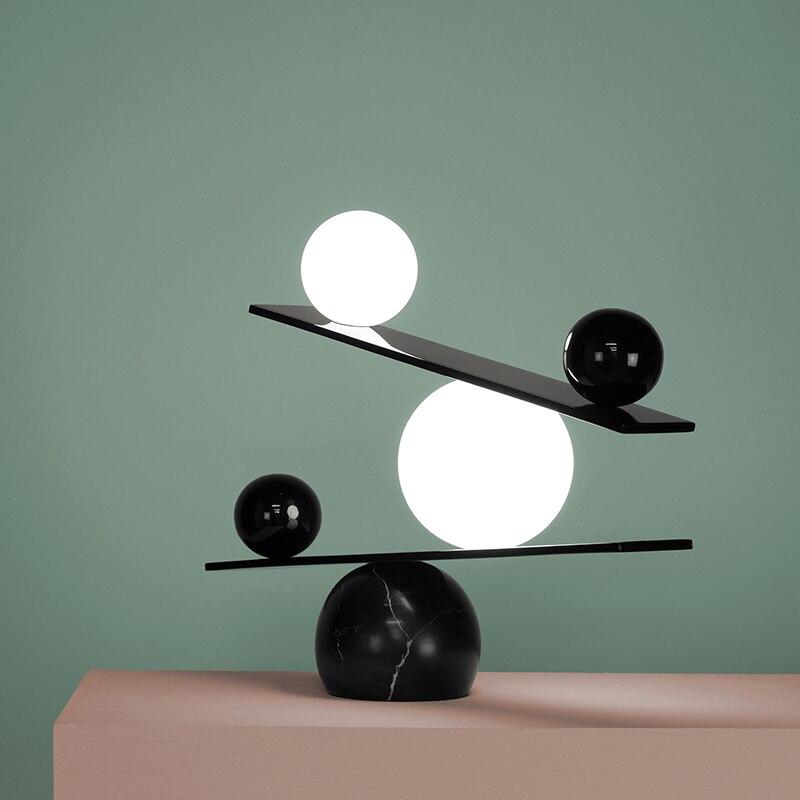 Image 3 - Marble LED Table Lights G9 Glass Ball Modern Black or Gold Simple Table Lamp For Bedroom Bedside Living Room Balance Desk LightsLED Table Lamps   -