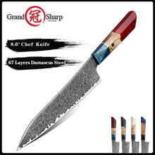 Grandsharp 8.6 Inch Chef's Knife 67 Layers vg10 Japanese Damascus Kitchen Knife Kitchen Stainless Steel Tool Gyuto Knives Gift