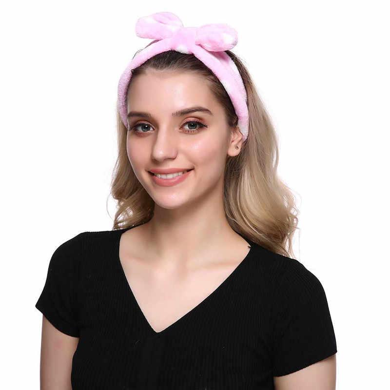 M MISM น่ารักสาวกระต่ายหู Headwrap นุ่มขนแกะปะการังผู้หญิงล้างหน้า Headwear Big Bow Hairband ผมอุปกรณ์เสริม