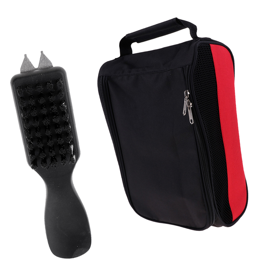 Portable Golf Shoes Tote Bag Zipped Sports Travel Shoe Case With Shoe Brush With Mud Dirt Remover