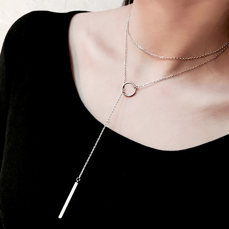 Hot Selling 925 Sterling Silver Jewelry Circle Strip Long Chain Necklace Pendants For Women Fashion Sterling Silver Jewelry