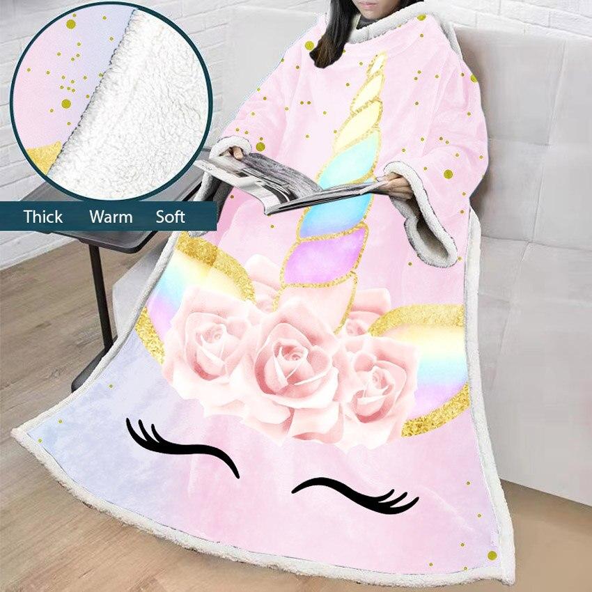 Licorne doux paresseux couverture hiver impression chaude épaisse coton canapé bande dessinée couverture avec manches portable maison pour adultes enfants voyage