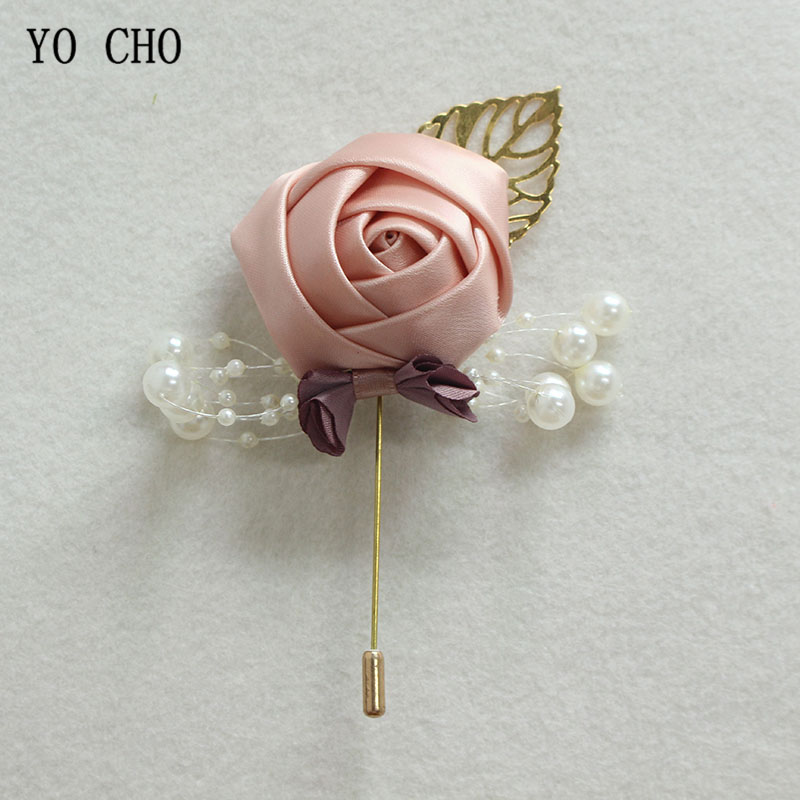 YO CHO Boutonniere Pin Flowers Groomsmen Corsage Wedding Groom Boutonniere Buttonhole Wedding Witness Corsages Prom Accessories