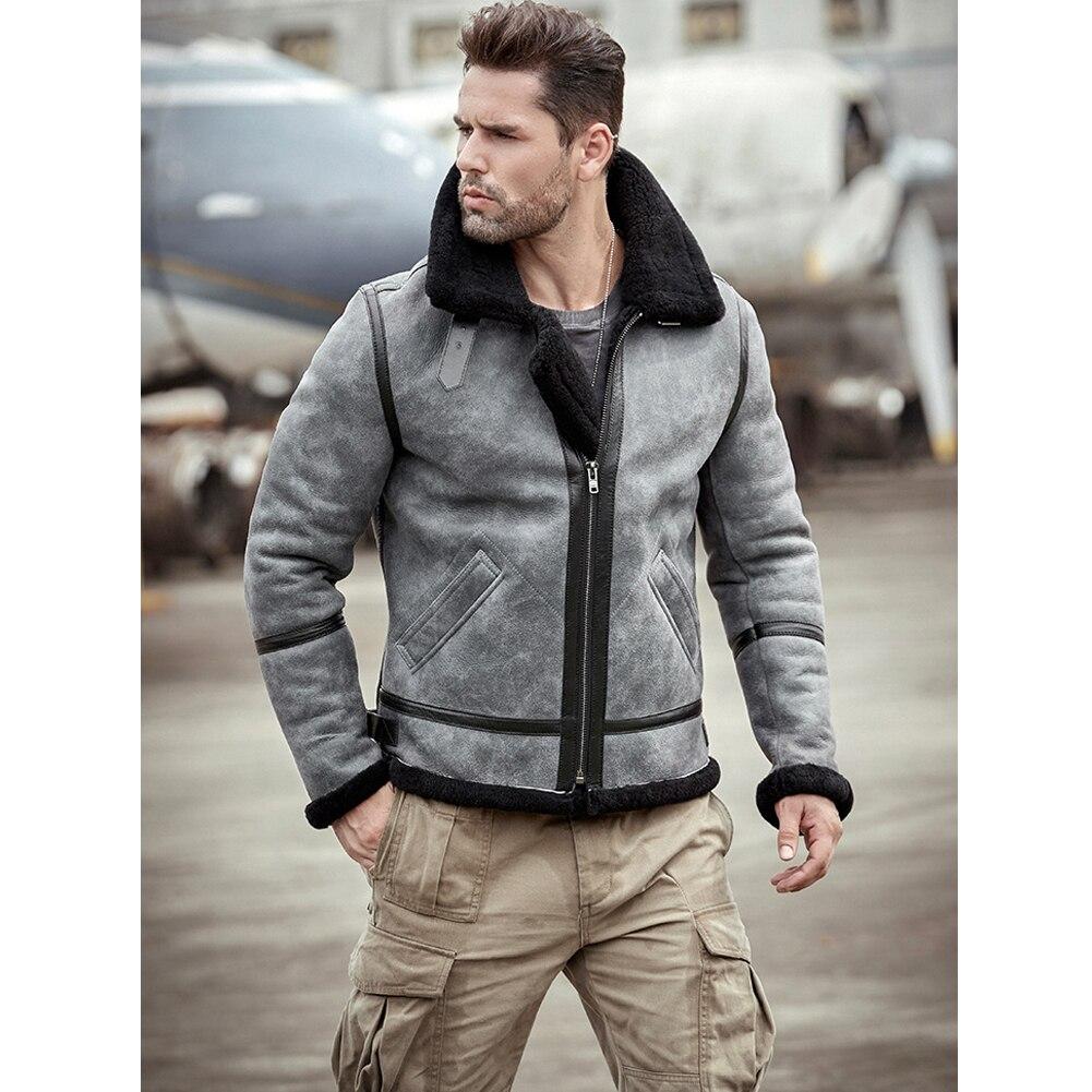 B3 Shearling Jacket Sheepskin Coat Mens Gray Fur Coat Leather Jacket Motorcycle Jacket Mens Winter Coats