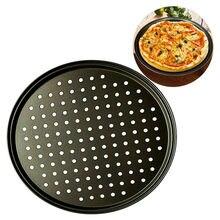 Plaque à Pizza antiadhésive en acier au carbone, 3 tailles, noir, maille ronde, plateau profond, moule de poinçonnage, outil de cuisine domestique