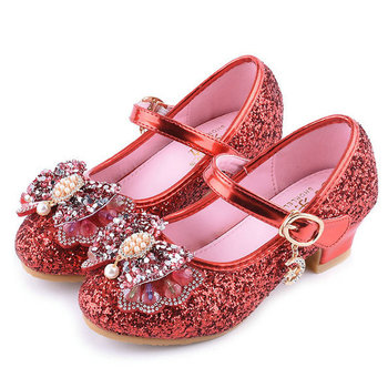 Spring Children Shoes Girls High Heel Princess Dance Sandals Kids Shoes Glitter Leather Fashion Girls Party Dress Wedding Shoes ssai kids girls princess shoes lace flowers girls leather shoes children dance dress shoes baby girls wedding party shoes