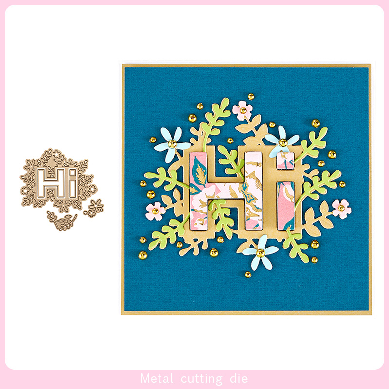 Hi words Flower lace Metal Cutting Dies for DIY Scrapbooking Photo Album Decorative Embossing Paper Card Crafts Die Cut 2019 in Cutting Dies from Home Garden