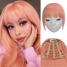 Veravicky 2020 Pink Human Hair Bangs 3 Clips short Hair Front Fringe Hairpiece 20G Brazilian Remy hair