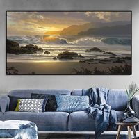 Moderno ola del mar puesta de sol playa pintura al óleo de paisaje en lona carteles y las huellas de Cuadros de la pared imágenes artísticas para sala