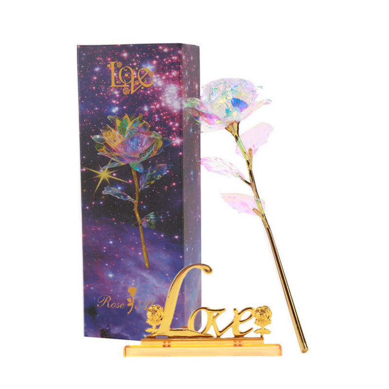 Gold Plated Rose 24K Dipped Flower Love Gift Decor Valentine's Day Gift 24K Colorful Golden LED Decorative Rose