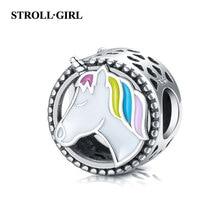 Strollgirl New 100% 925 Sterling Silver Cute Horse Charm Colorful Enamel Beads Fit Pandora Bracelet Women 2019 DIY Jewelry
