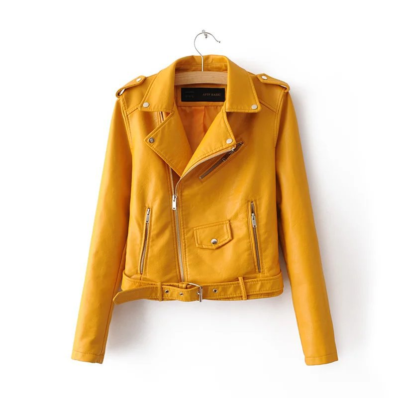 2019 Spring Bright Yellow Women Pu Leather Jackets Zipper Leather Coat Turn-down Collar Female Pu Jackets Pink Black Color 2