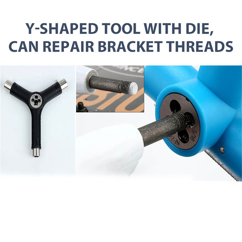 Skateboard Repair Y Shape Tool Portable Multifunctional Accessory With L Type Wrench EIG88